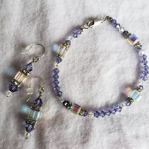 Custom Swarovski Crystal Bracelet & Earring set